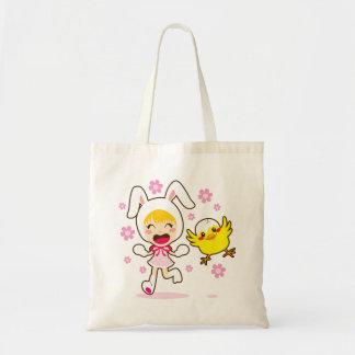 Chica de conejito y pequeño polluelo bolsa