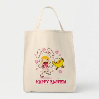 Chica de conejito y pequeño polluelo bolsa de mano