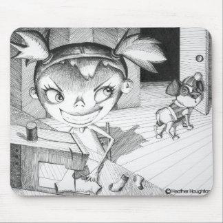 Chica de costura loco alfombrilla de ratón