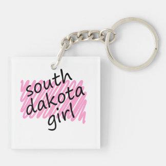 Chica de Dakota del Sur con el mapa garabateado de Llavero