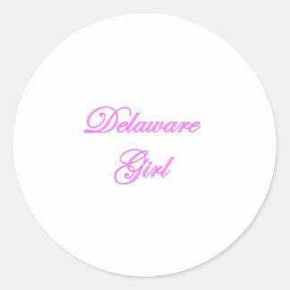 Chica de Delaware Pegatina Redonda