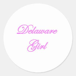 Chica de Delaware Etiquetas Redondas