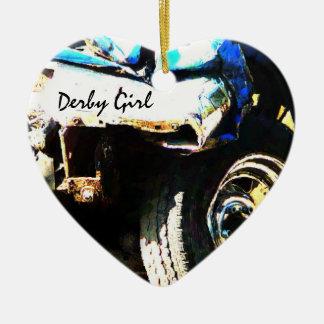 Chica de Derby - choque de coche Adorno Navideño De Cerámica En Forma De Corazón