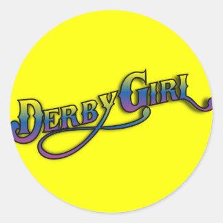 Chica de Derby Pegatina Redonda