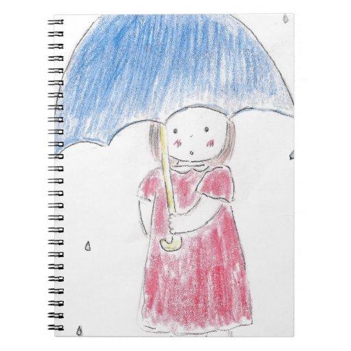 Chica de día lluvioso spiral notebooks