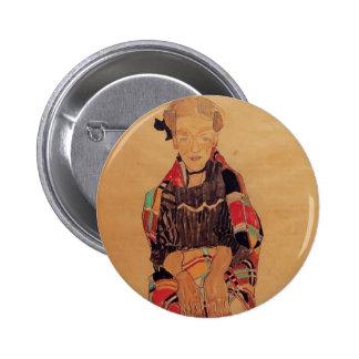 Chica de Egon Schiele- en delantal negro Pin