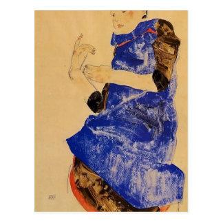 Chica de Egon Schiele- en un delantal azul Tarjeta Postal