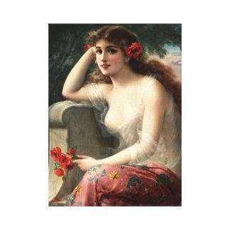 Chica de Emilio Vernon con una impresión de la lon Lienzo Envuelto Para Galerías