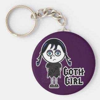 Chica de Emo del gótico Llavero Redondo Tipo Pin