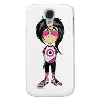 Chica de Emo en caso del iphone 3G de las gafas de