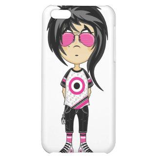 Chica de Emo en caso del iphone 4 de las gafas de