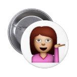 Chica de Emoji Pin Redondo 5 Cm