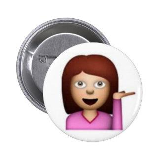 Chica de Emoji Pin Redondo De 2 Pulgadas