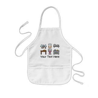 Chica de encargo del cocinero del pixel del texto delantal infantil