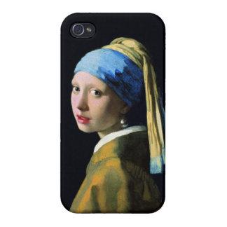 Chica de enero Vermeer con un arte del Barroco del iPhone 4 Carcasa