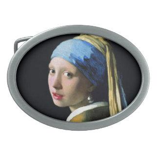 Chica de enero Vermeer con un arte del Barroco del Hebilla De Cinturón Oval