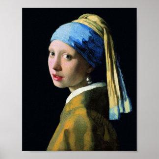 Chica de enero Vermeer con un arte del Barroco del Póster