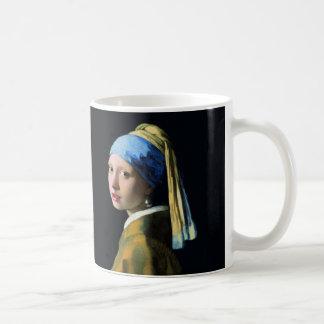 Chica de enero Vermeer con un arte del Barroco del Taza Básica Blanca