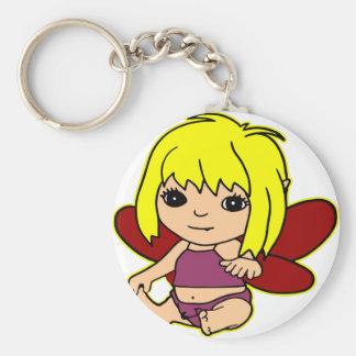 Chica de Fairie del bebé de Qute Llavero Redondo Tipo Pin
