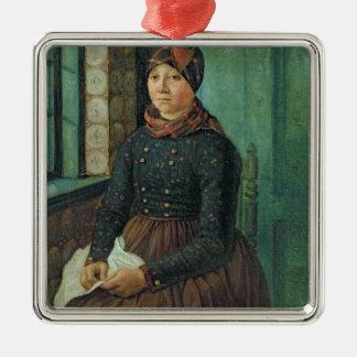 Chica de Fano, 1834 Adorno Navideño Cuadrado De Metal