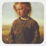 Chica de Fisher, 1874 Calcomania Cuadradas