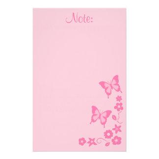 Chica de flores rosado elegante de mariposa papelería personalizada