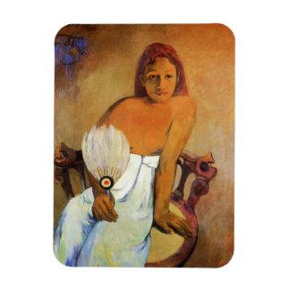 Chica de Gauguin con un imán de la fan