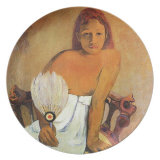 Chica de Gauguin con una placa de la fan Plato De Cena