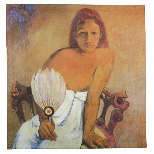 Chica de Gauguin con una servilleta de la fan