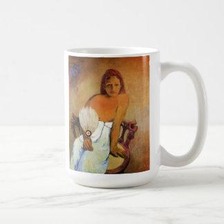 Chica de Gauguin con una taza de la fan