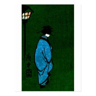 Chica de geisha con túnica azul tarjetas postales