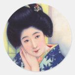 Chica de geisha hermoso japonés de la vintage pegatina redonda
