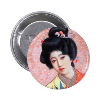 Chica de geisha hermoso japonés de la vintage pin redondo 5 cm