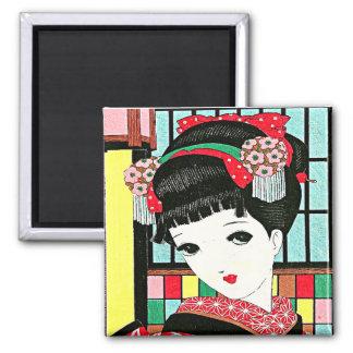 Chica de geisha japonés de Okura Imán Cuadrado