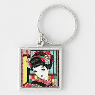 Chica de geisha japonés de Okura Llavero Cuadrado Plateado