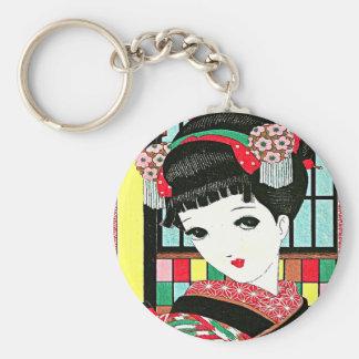 Chica de geisha japonés de Okura Llavero Redondo Tipo Pin
