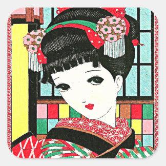 Chica de geisha japonés de Okura Pegatina Cuadrada