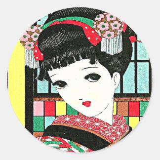 Chica de geisha japonés de Okura Pegatina Redonda