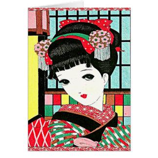 Chica de geisha japonés de Okura Tarjeta De Felicitación