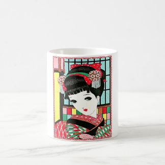 Chica de geisha japonés de Okura Taza Clásica
