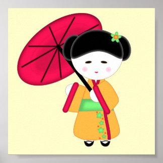 Chica de geisha japonés poster