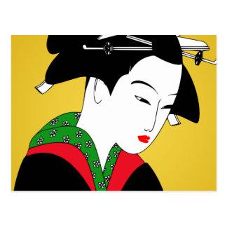 Chica de geisha japonés tarjetas postales