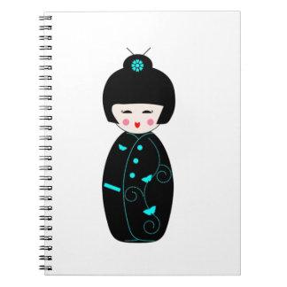 Chica de geisha libro de apuntes con espiral