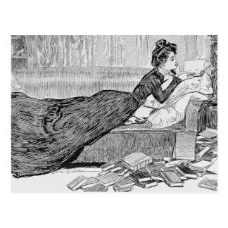 Chica de Gibson que lee un libro Postal