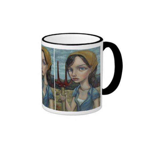 Chica de granja tazas de café