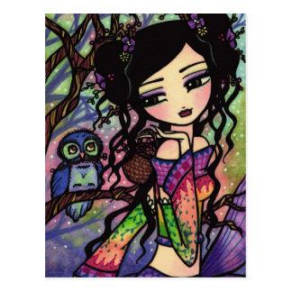 Chica de hadas del arte de la fantasía del búho de tarjetas postales