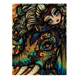 Chica de hadas del arte de la fantasía del elefant postales