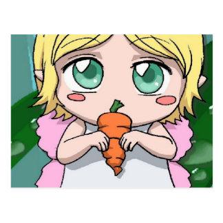 Chica de hadas del conejo postal