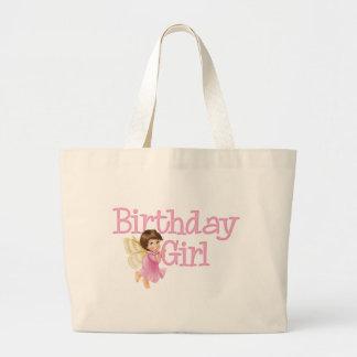Chica de hadas del cumpleaños de la mariposa bolsa tela grande