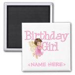Chica de hadas del cumpleaños de la mariposa imán de frigorifico